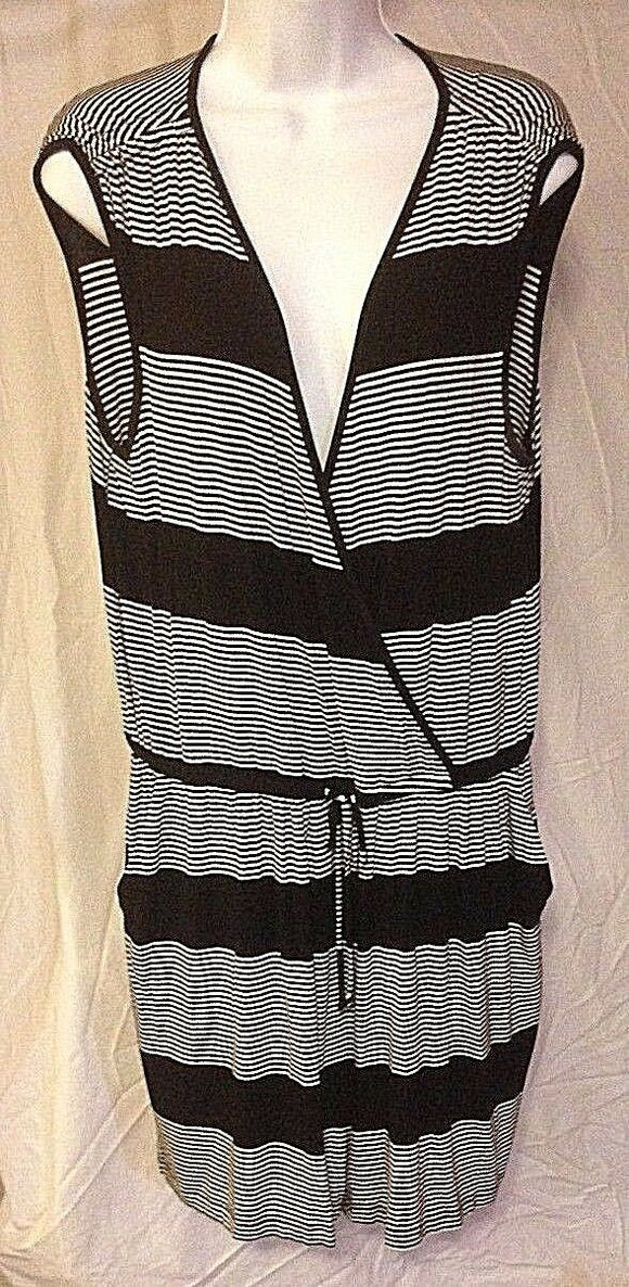 Women's Black & White Striped Knit Romper by Spense (02391)