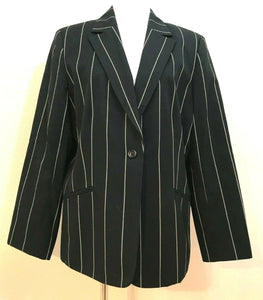 Women's Plus Size Black & Tan Pin Striped Blazer Size 16 by Kasper (04126)