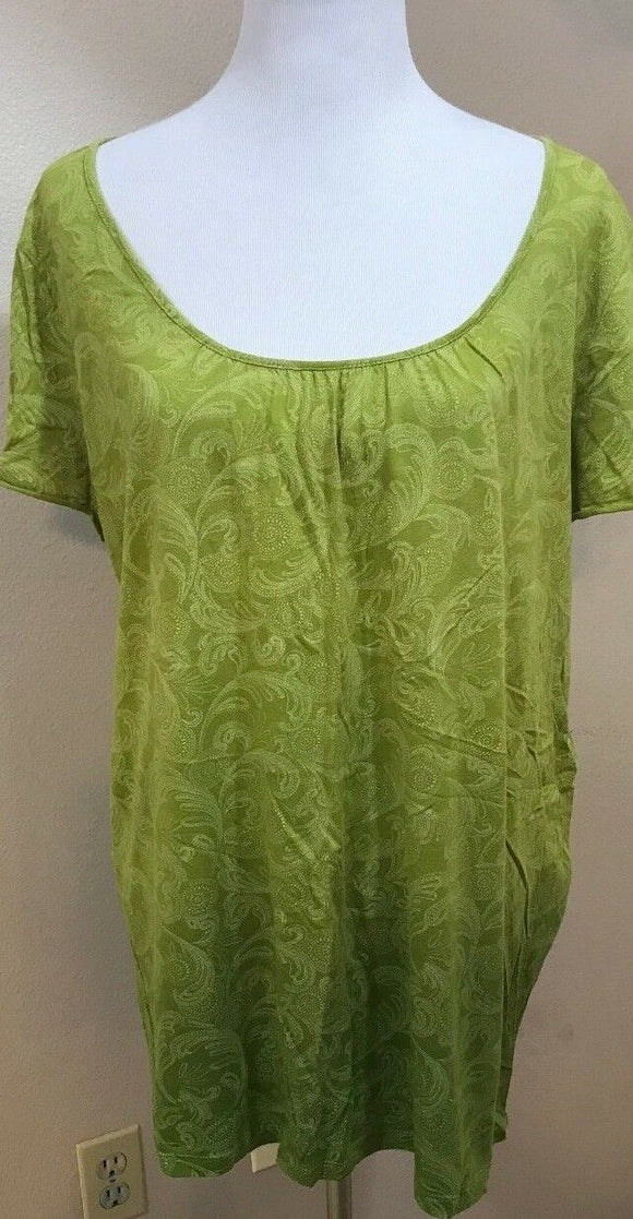 Women's Plus Size Green Paisley Top Size 1X by IZOD (03686)