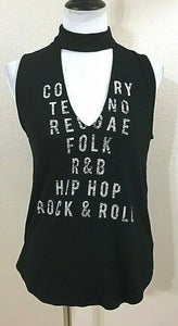 "Women's Black ""Music Worded"" Plunging V-Neck Tee Shirt by Express (04120)"