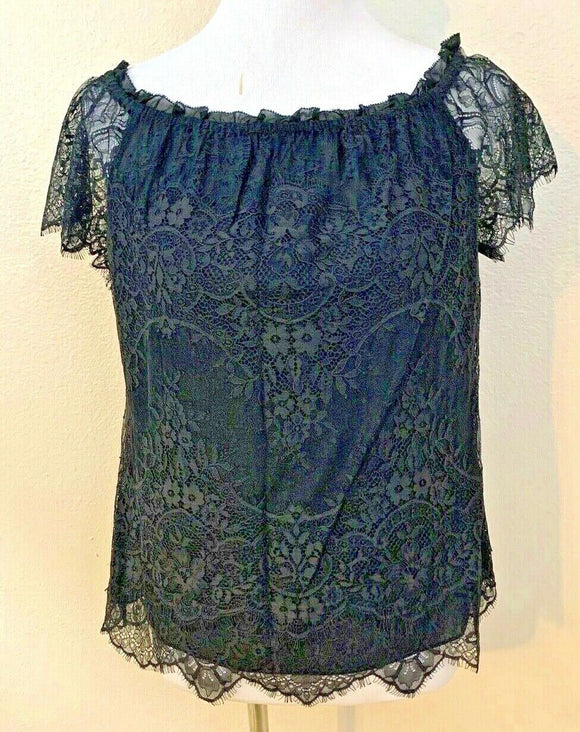 Women's Black Lace Peasant Top Size M by White House/Black Market (04416)