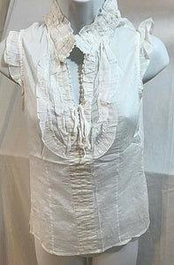 Women's White Sheer V-Neck Light Thin Top Size S by Romeo & Juliet Couture (03628)