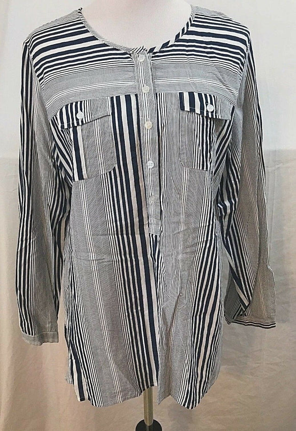 Women's Blue & White Striped Blouse Size S by Art and Soul (03526)