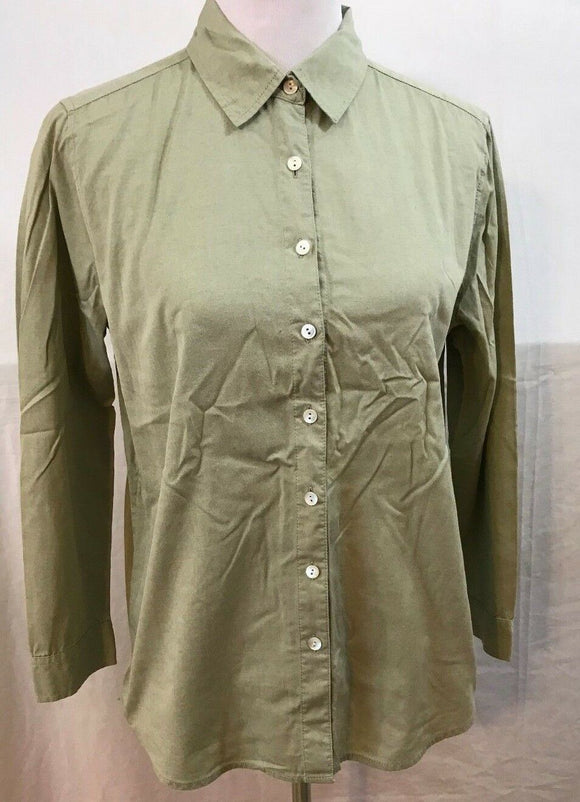 Women's Green Long Sleeve Button Down Shirt Size S by J. Jill (03524)