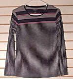Women's Gray, Black & Pink Striped Top Size M by Croft & Barrow (02168)