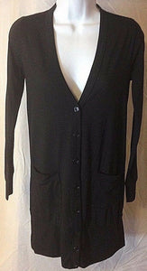 Women's Black Laced Back Button Down Tunic Sweater Size S by Delirious (02455)