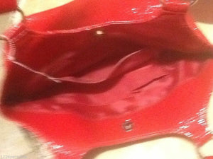 Bright Red Faux Leather Tote Handbag Satchel (P110)