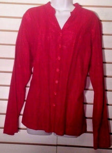 Women's Red Cotton/Metallic Blouse Size 16 by JM Collection (02079)