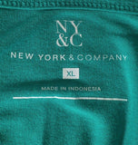 Women's Green Open Shoulder Top Size XL by NY&C (01745)