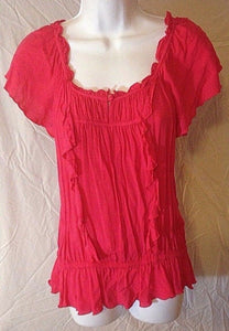 Women's Fuchsia Ruffled Top Size S by Express (02411)