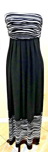 Women's Black & White Striped Strapless Dress Size 0.S by Chico's (04082)
