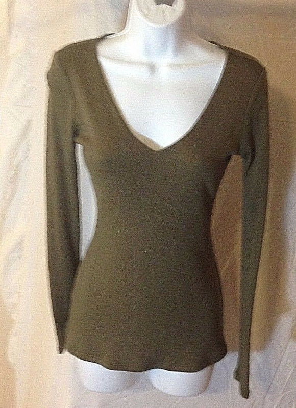 Women's Olive Green V-Neck Top Size S by INC International Concepts (02438)