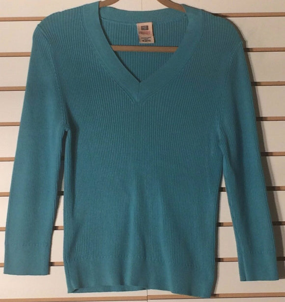 Women's Aqua V-Neck Ribbed Top Size M (8-70) by Faded Glory (01570)
