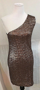 Women's Bronze Sequined One Shoulder Size M by Backstage (03375)