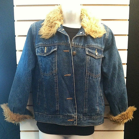 Women's Jean Jacket With Faux Fur Collar by KC Collection (00101)