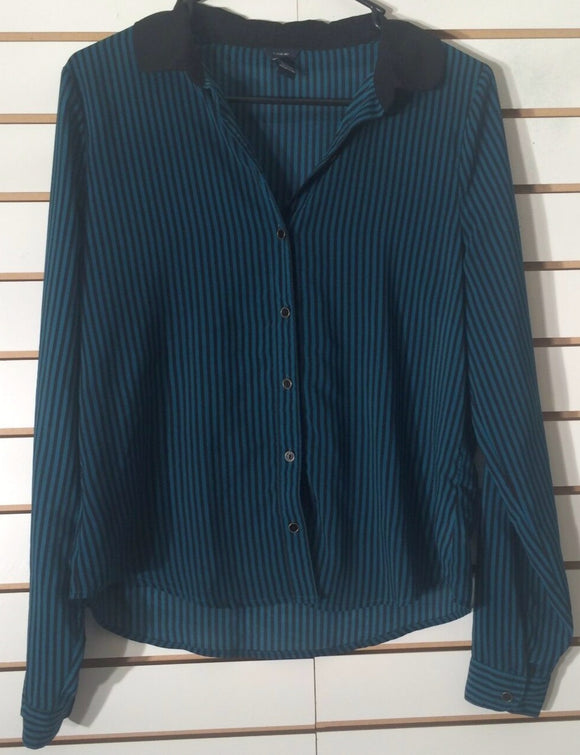 Women's Sheer Teal & Black Striped Shirt Size M by I Love H81 (01971)
