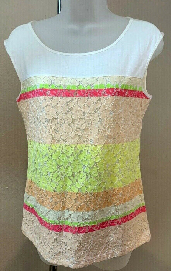 Women's Multicolor Lace Overlay Top Size XS by Ann Taylor (04426)
