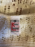 Women's Beige Crocheted Knit Top Size M by Knits Landing (02562)