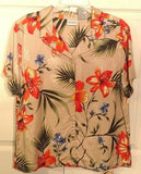 Women's Tan Hawaiian Flowered Shirt Size L (12/14) by White Stag (00225)
