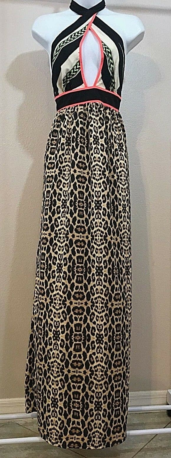 Women's Multicolor Animal Print Halter Long Dress Size XS by River Island (04021)