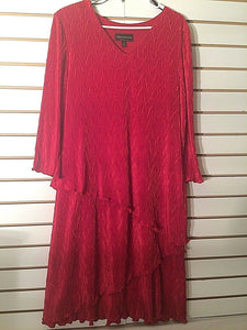 Women's V-Neck Red Crinkle Look Cocktail Dress by Connected Apparel (01873)