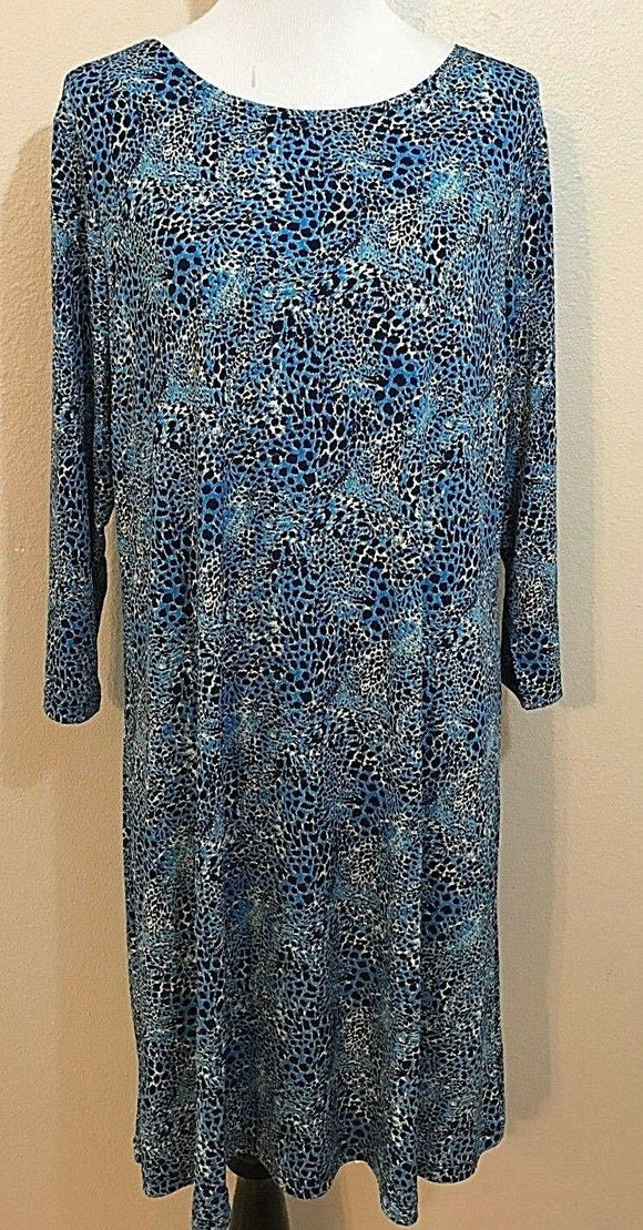 Women's Blue/Black Animal Print Dress Size XL by Effortless Style by Citiknits (03878)
