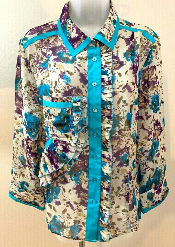 Women's Multicolor Sheer Floral Button Down Blouse Size M by Samuel Doug (04451)