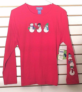 Women's New Petite Red Christmas Top by Paradise Bay (02157)