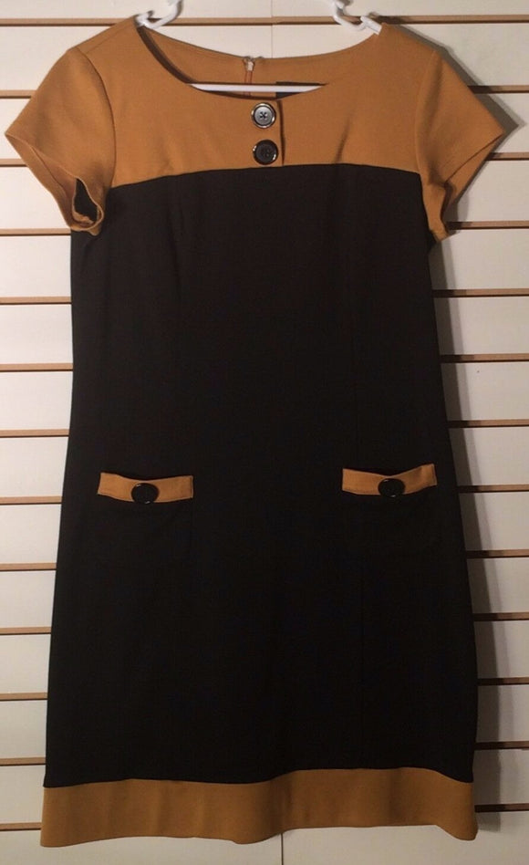 Women's Two-Tone Black & Gold Dress Size 10 by Scarlett (01615)