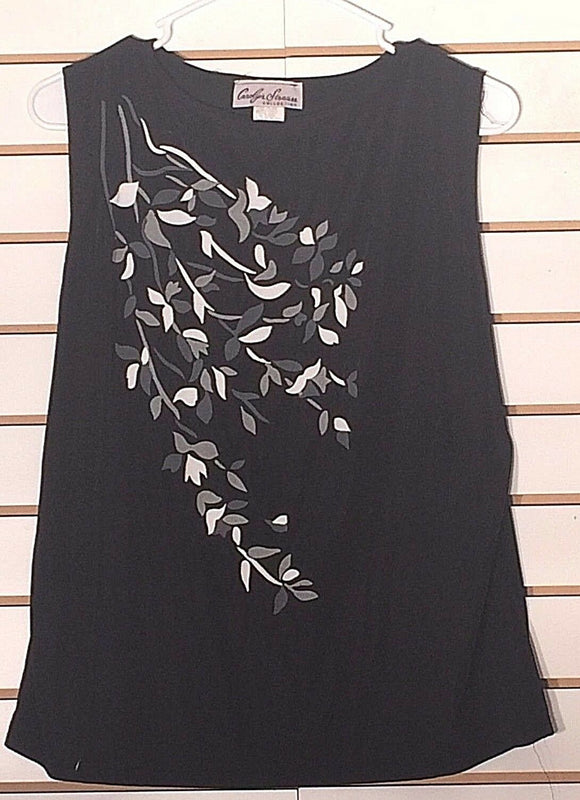Women's Black Floral Clingy Top Size M by Carolyn Strauss (02183)