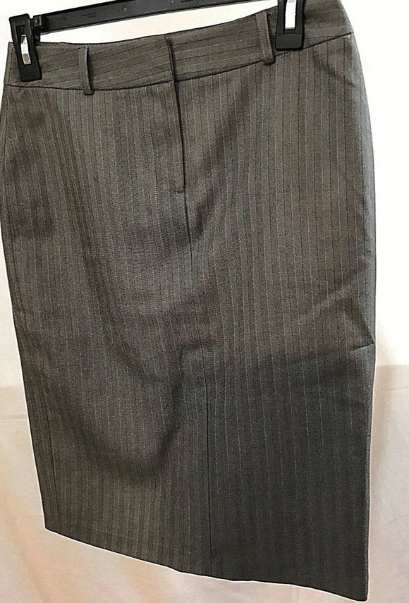Women's Gray Striped Straight Skirt Size 6 by Koton (03632)