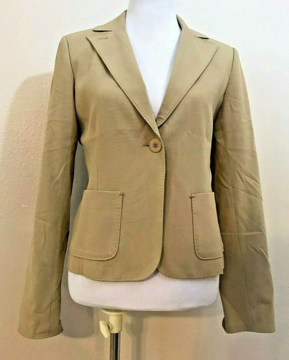 Women's Tan One Button Front Blazer Size 10 by Diffusion D (04141)