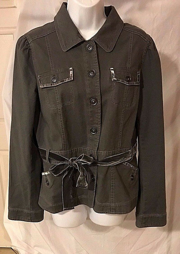 Women's Gray Denim & Velvet Trim Jacket Size 14 by Ann Taylor LOFT (02796)