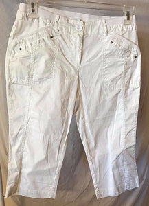Women's New Petite White Cotton Capri's Size 6P by Coral Bay (02611)