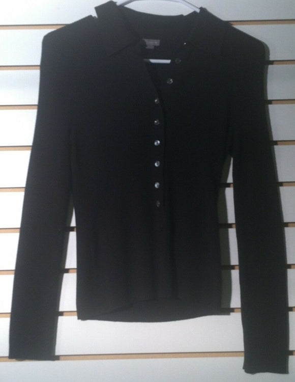 Women's Black Button Down Knit Top Size S by Ann Taylor (01221)