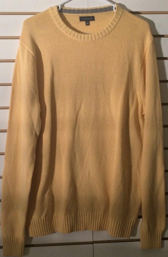 Women's Large Yellow Crew Neck Sweater Size L by Croft & Barrow (01711)