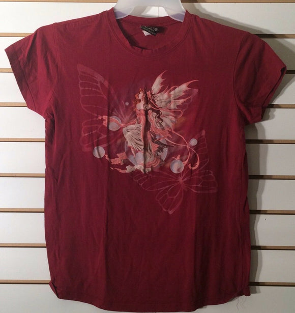 Women's Decorative Wine Colored Tee Shirt Size XL by Stuff (01834)