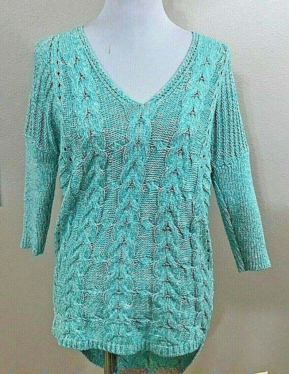 Women's Mint Green & White V-Neck Cable Knit Top Size XS by Express (04121)