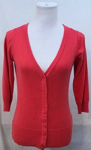 Women's Salmon Colored V-Neck Button Down Sweater Size S by AB Studio (03451)
