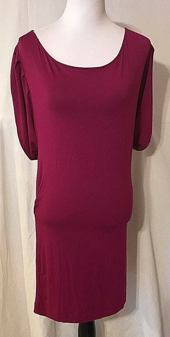 Women's Fuchsia Drop Waist Knit Dress Size M by New York Company Stretch (03369)