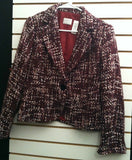 Women's Petite Red Tweed Cropped Blazer by Emma James/Liz Claiborne (00117)