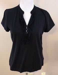 Women's Black V-Neck Ruffled Top Size M by Liz Claiborne (03021)