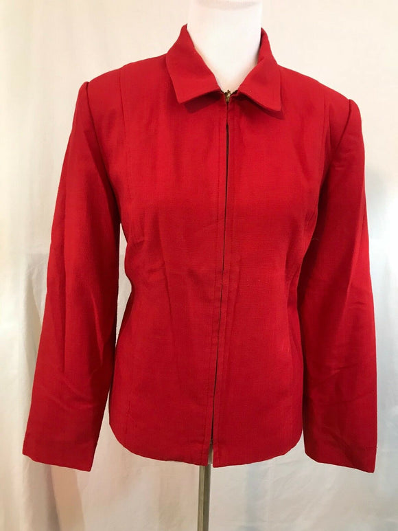 Women's Red Zippered Blazer Size 14 by Requirements (03395)
