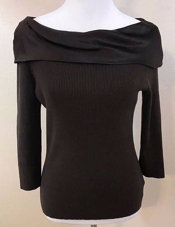Women's Brown Silk Blend Wide Collar Top Size M 10-12 by N Company (03012)