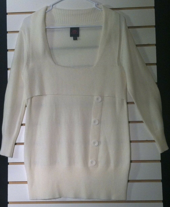Women's Cream Colored Knit Top Size XL by 2 b bebe (00790)