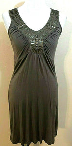 Women's Taupe Beaded Embellished V-Neck Dress Size S by Design History (04149)