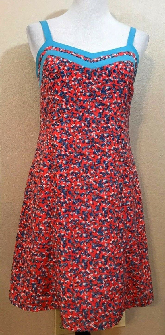 Women's Orange & Light Blue Floral Dress Size S by Tulle (03917)
