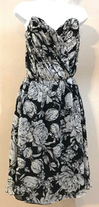Women's Black & White Silk Floral Beaded Cocktail Dress by Helen Wade (03965)