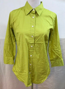 Women's Lime Green Stretch Button Down Shirt Size M by Haberdashery (J.Crew) (03520)