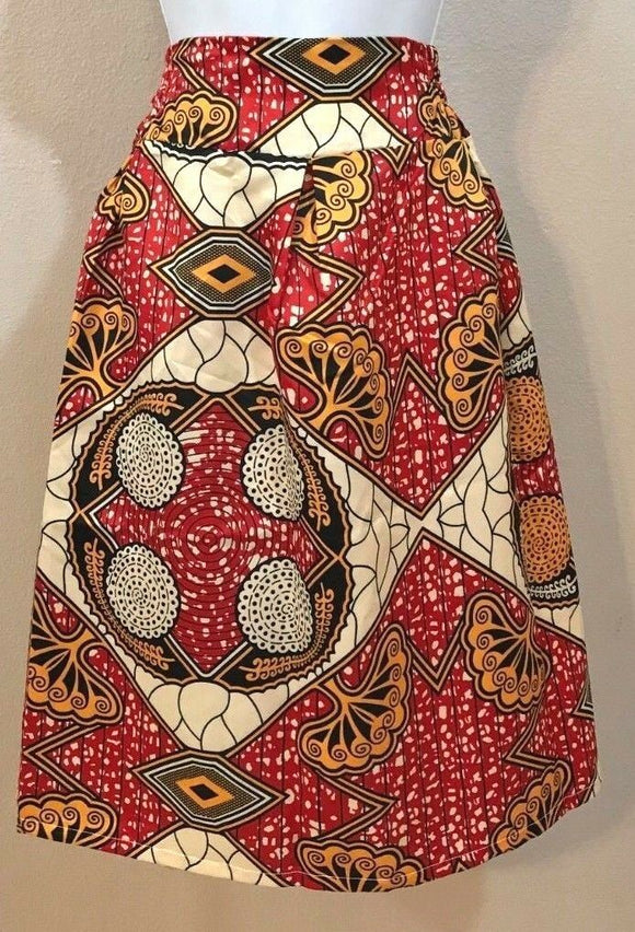 Women's Red Multicolor Geometric Design Skirt Size M (03981)